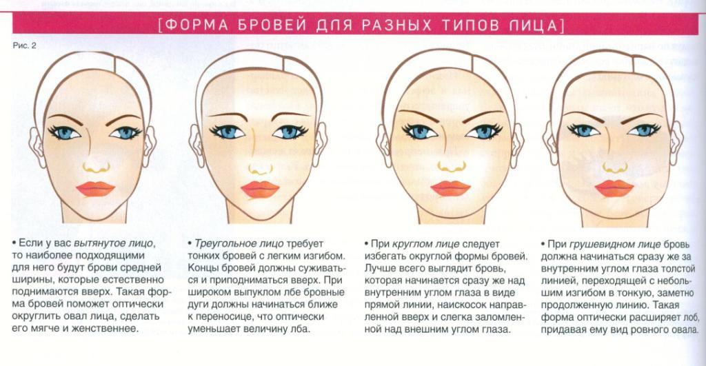 Правильная форма бровей для разных типов лица